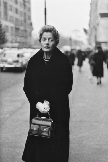 Woman with white gloves and a pocketbook, N.Y.C., 1956.